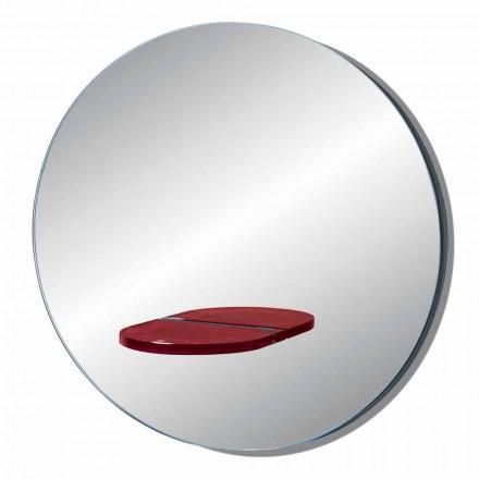 Espejo de pared redondo con repisa de vidrio coloreado Made in Italy - Eliza