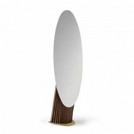 Espejo de piso de lujo en madera de fresno y metal Made in Italy - Cuspide