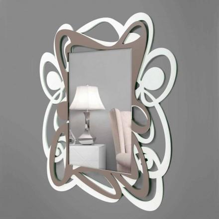 Espejo de pared decorativo grande blanco y beige de diseño moderno - Bocchio