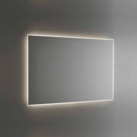 Espejo de baño retroiluminado con marco pulido con chorro de arena Made in Italy - Floriana