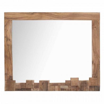 Espejo de pared rectangular moderno con marco de madera de acacia - Eloise