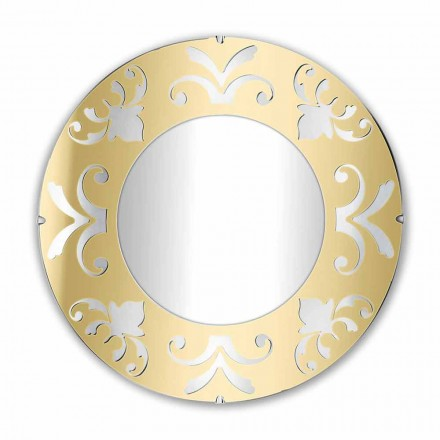 Espejo de diseño redondo en plexiglás dorado plateado o bronce con marco - Foscolo