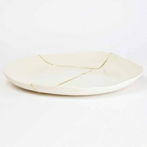 Bandeja de Bolsillo Redonda de Diseño en Porcelana Blanca y Pan de Oro - Cicatroro