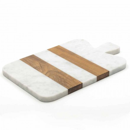 Tabla de cortar de mármol blanco Carrara y madera Made in Italy Design - Evea