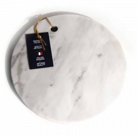 Tabla de cortar de mármol blanco de Carrara de diseño redondo Made in Italy - Masha