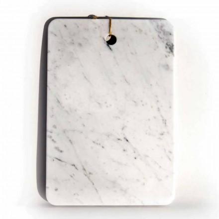 Tabla de cortar de diseño Made in Italy en mármol blanco de Carrarra - Masha