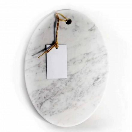 Tabla de cortar ovalada moderna en mármol blanco de Carrara Made in Italy - Masha