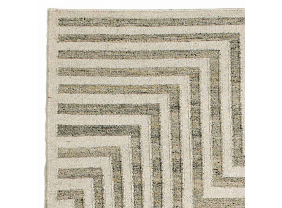 Alfombra moderna de sala de estar con estampado geométrico de lana y algodón - Carioca