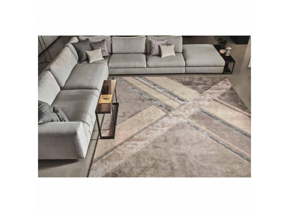 Alfombra de salón en lana, algodón y viscosa, lujo Made in Italy - Rick