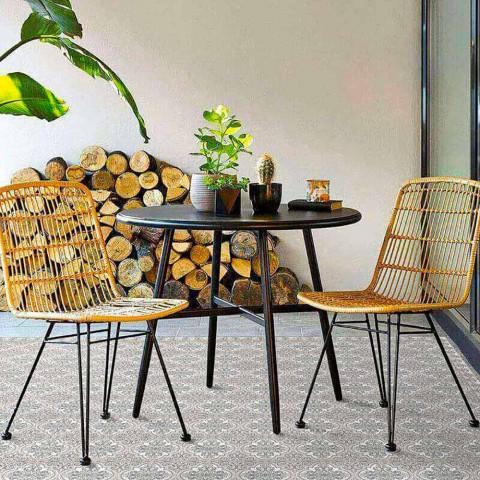 Alfombra moderna para sala de estar con fantasía de mayólica en vinilo rectangular - Costa