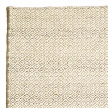 Alfombra de salón tejida a mano en lana y algodón de diseño moderno - Rivet