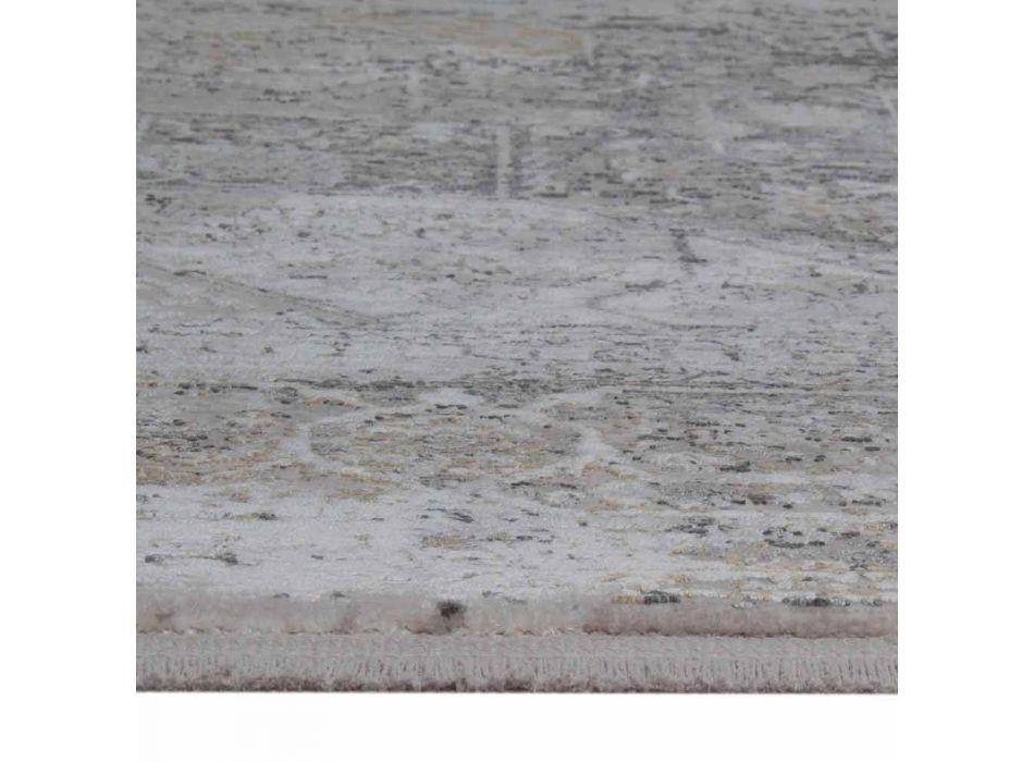 Alfombra de diseño en viscosa y acrílico gris beige con diseño - Presidente
