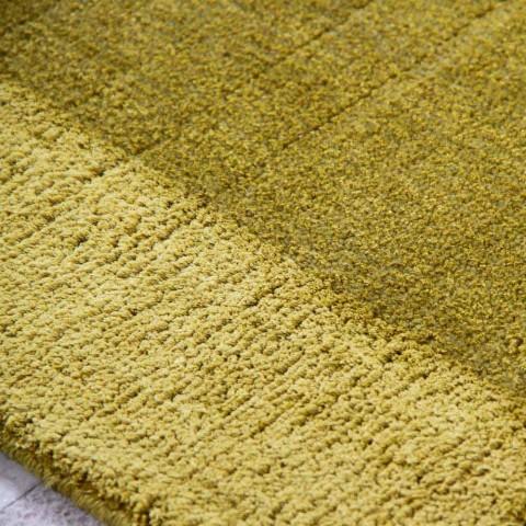 Alfombra grande de lana y seda de colores con banda de diseño moderno - Mezcla