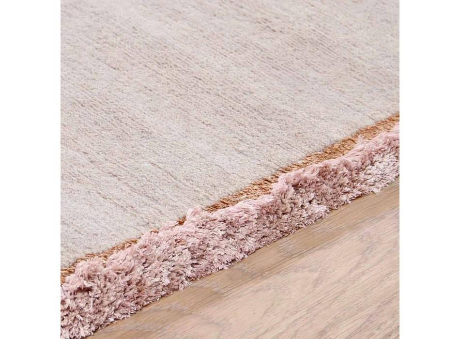 Alfombra de viscosa y algodón con flecos de colores en diseño moderno de seda - Garbino