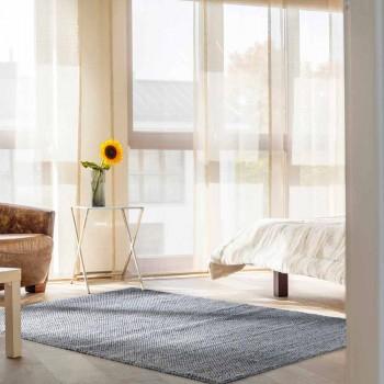 Alfombra moderna de poliéster y algodón tejida a mano para salón - Soledad