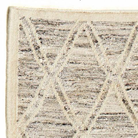 Alfombra moderna en lana y algodón marfil con fantasía para salón - Peppo