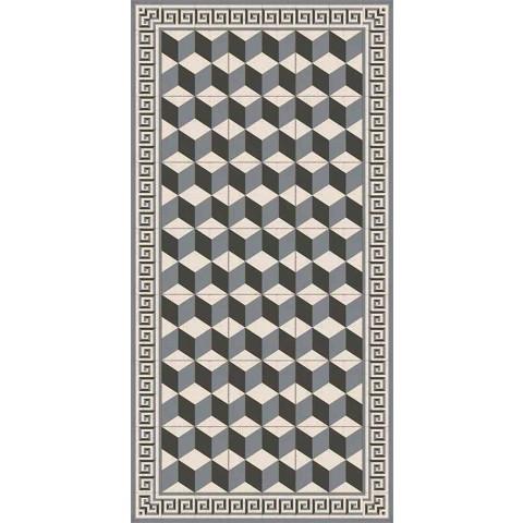 Alfombra moderna para sala de estar en Pvc y poliéster con patrón geométrico - Romio