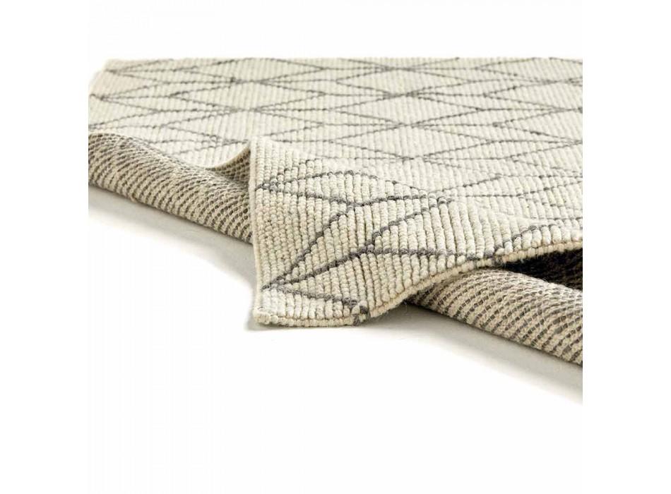 Alfombra moderna tejida a mano con diseño geométrico en lana para salón - Geome