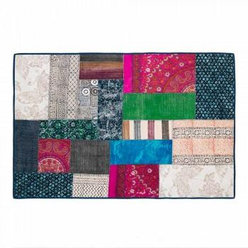 Alfombra Kilim rectangular de algodón azul con patchwork de colores - Fibra