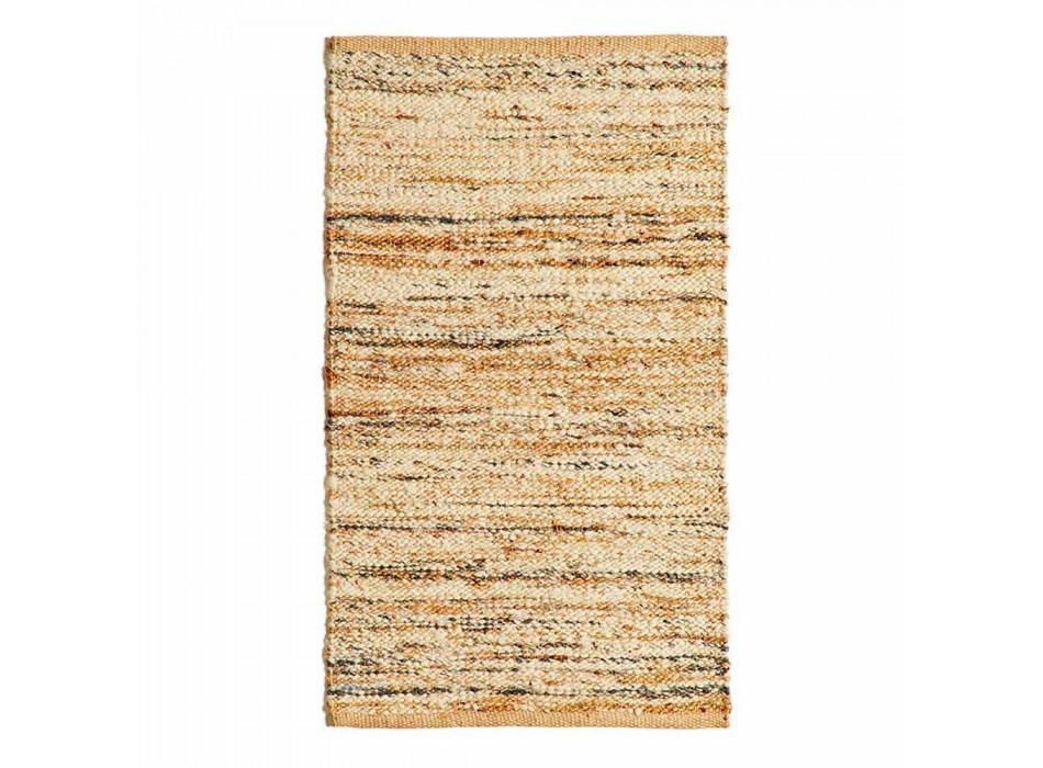 Alfombra rectangular en lana, yute y algodón de diseño moderno para salón - Remino