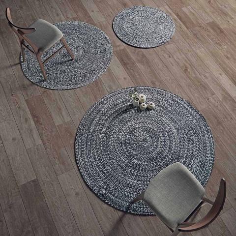 Alfombra redonda moderna para sala de estar en algodón tejido a mano - Redondo