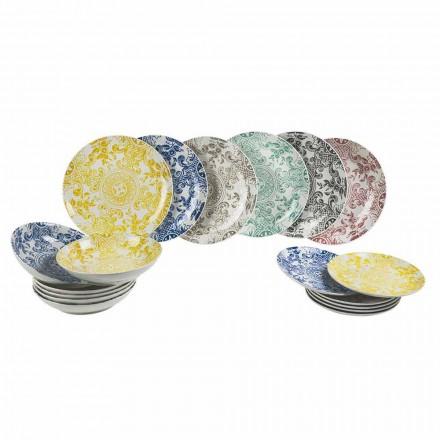 Servicio de mesa de porcelana coloreada 18 piezas - Pizzotto