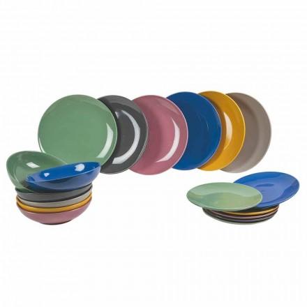 Conjunto Mesa en Gres Coloreado, Platos Decorados 18 Piezas - Pizzotto