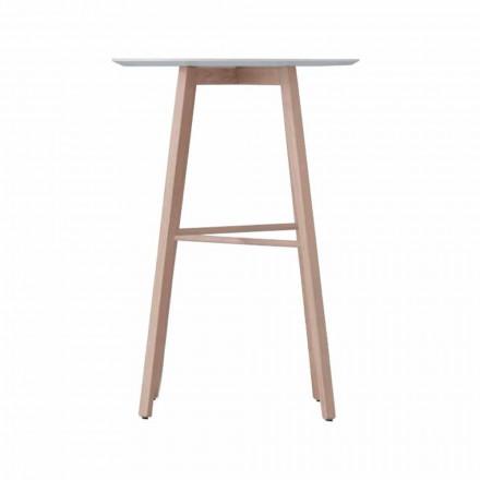 Mesa de centro alta o baja en madera de roble y tapa blanca - Langoustine