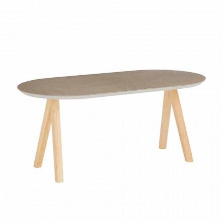 Mesa de centro en cerámica y madera natural de diseño ovalado moderno - Amerigo