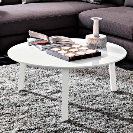 Mesa de centro con tapa redonda en MDF lacado Made in Italy - Tobiko