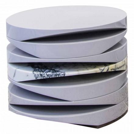 Mesa de centro en mármol blanco con inserto en Paonazzo Made in Italy - Vita