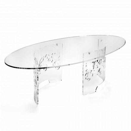 Mesa de centro de plexiglás transparente o ahumado con base decorada - Crassus