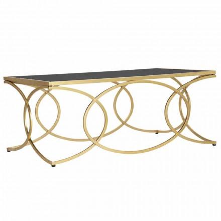 Mesa de centro rectangular en hierro y espejo de diseño - Alegría