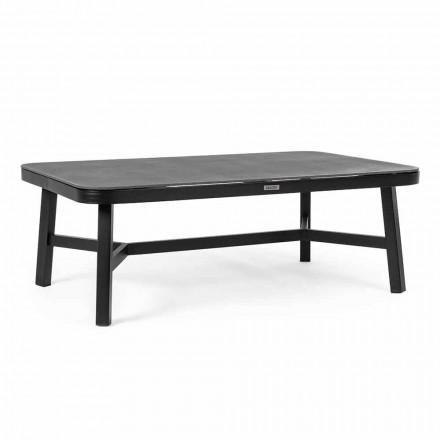 Mesa de exterior en aluminio negro con Homemotion - Tablero de vidrio Morena