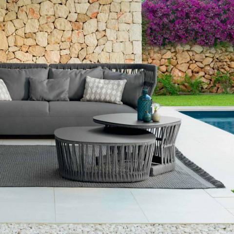 Mesita de jardín Cliff Talenti, diseño Palomba, cuerda y aluminio