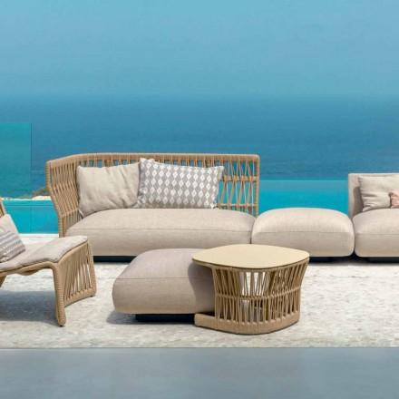 Mesa de jardín Cliff de Talenti, diseñada por Palomba en cordón y aluminio