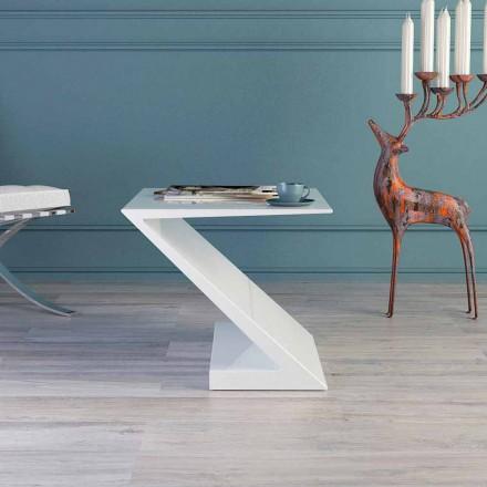 Mesita blanca de diseño moderno Zeta hecha en Italia.