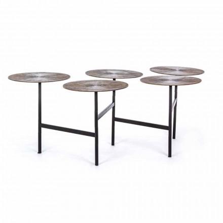Mesa de centro Homemotion con 5 tapas redondas de aluminio - Pollino