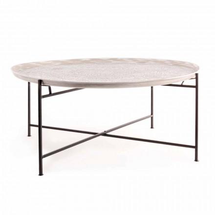 Mesa de centro Homemotion con tapa redonda y base de acero - Tullio