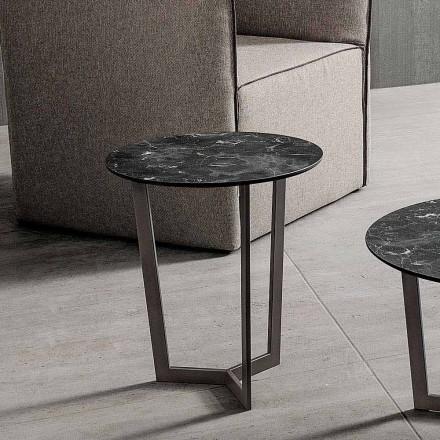 Mesa de centro con tapa redonda en HPL laminado Made in Italy - Mina
