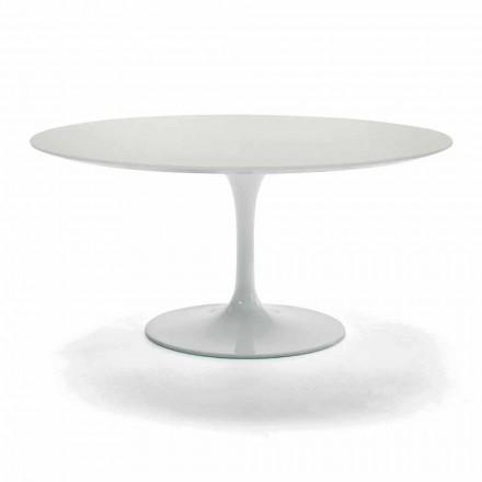 Mesa de centro con tapa redonda en laminado precioso Made in Italy - Dollars