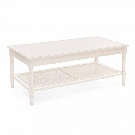 Mesa de centro de diseño clásico en madera y ratán Homemotion - Raino