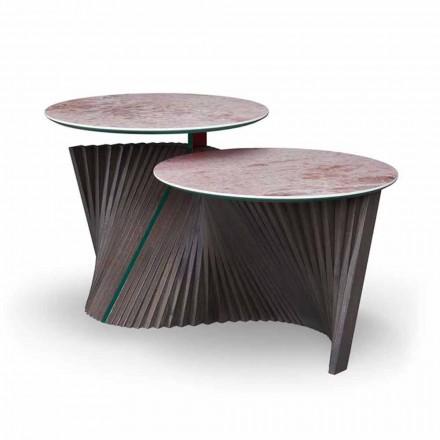 Mesa de centro de lujo con 2 tapas redondas en Gres Made in Italy - Estocolmo