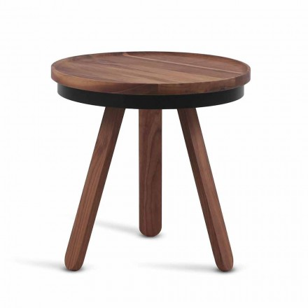 Mesa de centro de diseño con tapa redonda y patas de madera maciza - Salerno