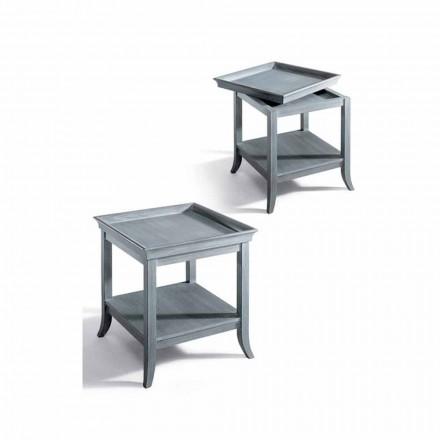 Mesita de diseño en madera lacada gris, 60x60 cm, Marcus