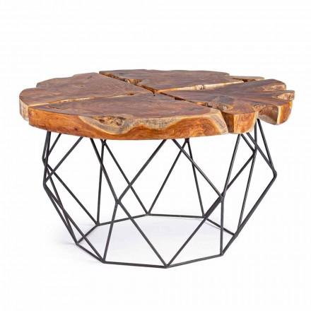 Mesa de centro de diseño Homemotion con tablero de teca - Grillo