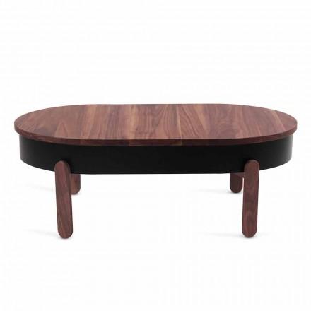 Mesa de centro de diseño en madera maciza y metal lacado - Salerno