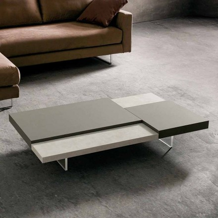 Mesa de centro Fenix con pies transparentes Made in Italy - Justin