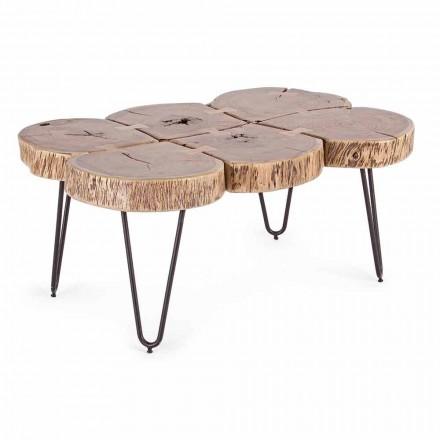 Mesa de centro en madera de acacia y acero pintado Homemotion - Havana