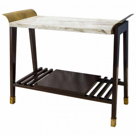 Mesa de centro de cerezo, mármol y latón Made in Italy - Barto